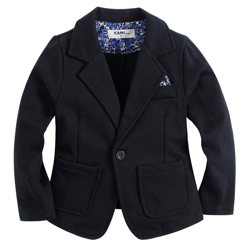 new arrival knitted cotton 100% toddler BOY blazer BB161103B solid black split sleeve solid blazer
