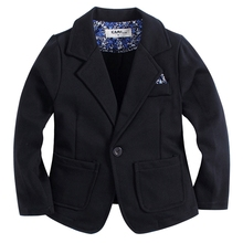 new arrival knitted cotton 100% toddler BOY blazer BB161103B solid black