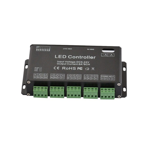 6ch easy rgb dmx controller dc12 24v or dc5v led controller for led rh aliexpress com