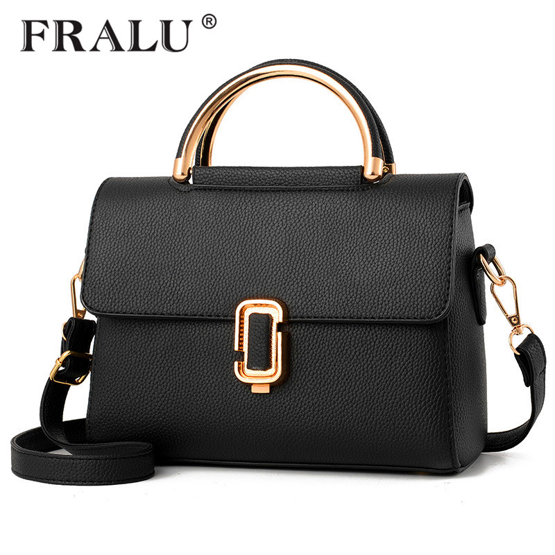 FRALU Women Bag Pu Leather Tote Brand Name Bag Ladies Handbag Lady Evening Bags Solid Female