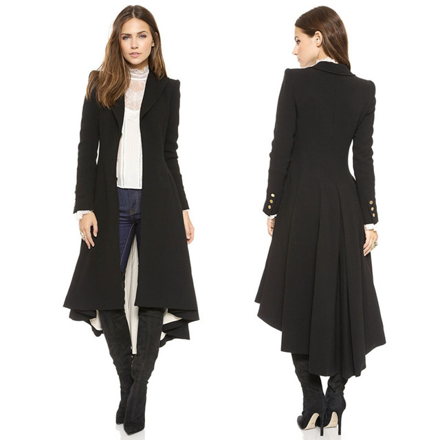 Autumn Winter Women Swallowtail Woolen Long Black Trench 1