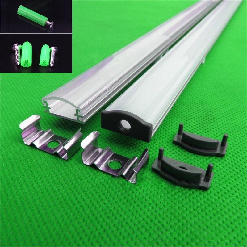 Aluminium Profil Für 5050,5630 Led Streifen Milchig/transparent Abdeckung Für 12mm Pcb 2-30 Teile/los 0,5 M/teil Led Kanal