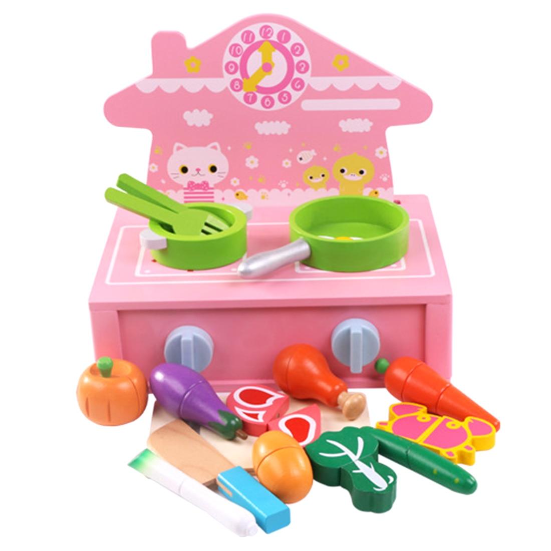 22 pièces enfants semblant jouer jouets magnétisme cuisine cuisinière cuisson coupe Playset pour filles enfants cadeaux d'anniversaire 2019-rose
