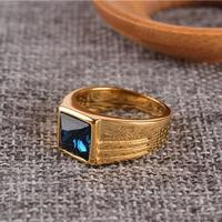 Red Blue Square Stone Simple Band Rings Men In Titanium Titanium Stainless Steel AAA Quality Mens