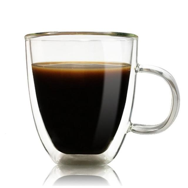350ml double wall glass coffee mugs heat resistant milk beer cup