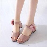 Pearl flower Girls Sandals Summer Kids Shoes For Girls Princess Party Wedding Infants Dress High Heel Shoes