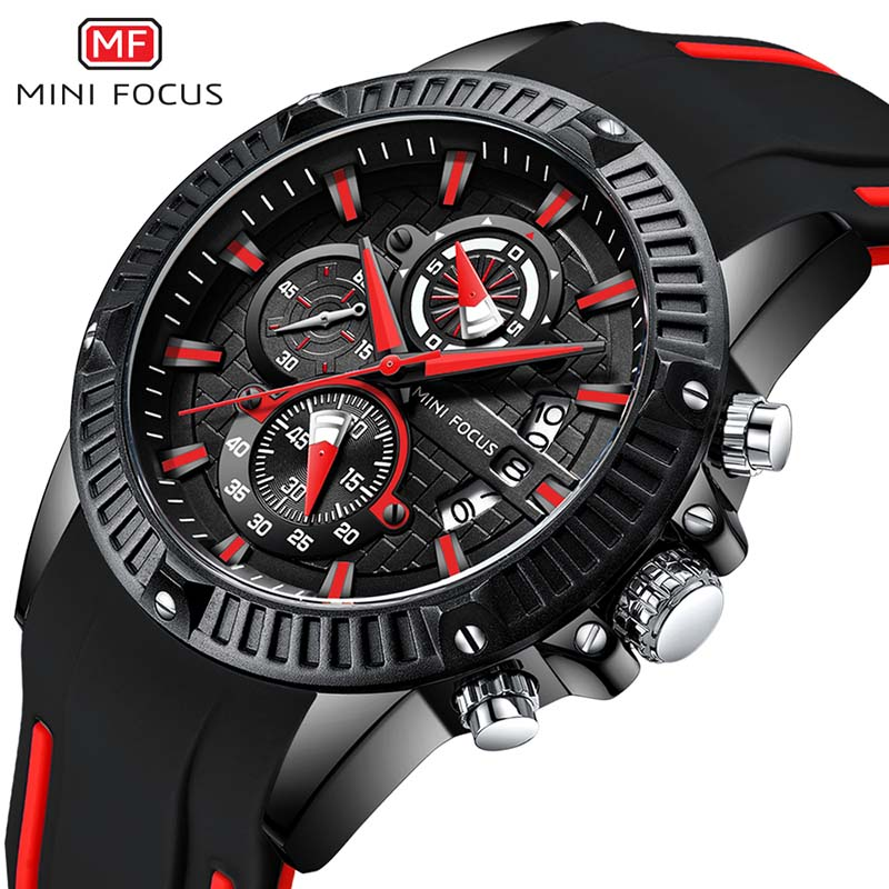 NEW MINI FOCUS Luxury Brand Men's Quartz Watches Men Fashion Casual Rubber Sports Watch Man Date Clock Relogio