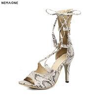 2019 New women sandals thin high heels snakeskin women shoes lace up summer shoes woman