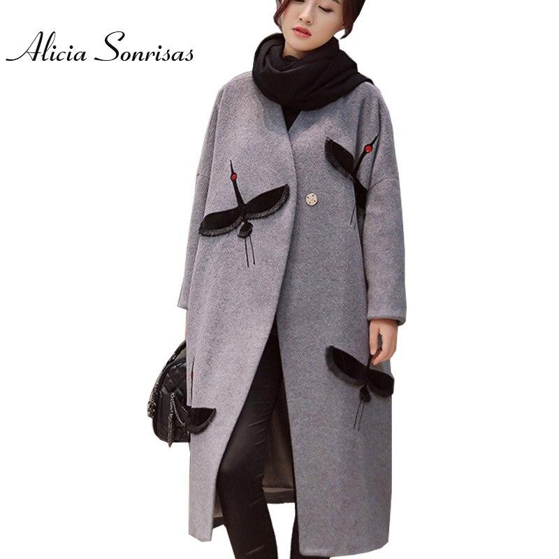 女性の冬のウールブレンドマントロングウールアウター両面ウールのオーバーコートトレンチキルティング厚いクレーン刺繍コート  グループ上の レディース衣服 からの ウール混紡 の中 3
