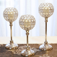 Gold Crystal Candle Holder Stand Romantic Morocco Wedding Candelabra Metal Big Candle Ball Stand Candlestick Christmas X6T021
