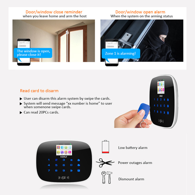 KERUI LCD PIR Sensor GSM Autodial House Office Burglar Intruder Alarm System Support 2G/4G signal Android and IOS APP Control
