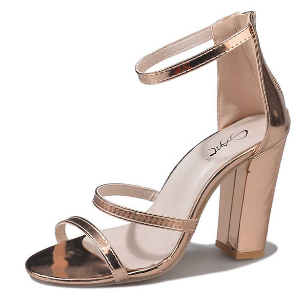 af94da4273 Ladies Shoe Extreme High Heels Women Pumps 12CM Square Thick Heel Golden  Silver Shoes Peep Toe Ankle Strap Glitter Size 34 42 43