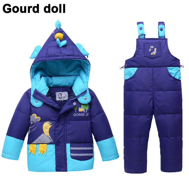 e5480474dd46 10-24 month Baby boys girl winter clothing set 90% thicken down feather  snow wear kid overalls for infant snowsuit down   parkas