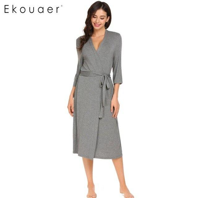 Ekouaer Long Womens Robe 3/4 Sleeve Solid Loose V Neck Self Belt Bathrobe Night Sexy Robes Night Grow Kimono Robe Size S-XL