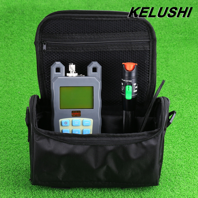 KELUSHI 2 en 1 Kit De Herramienta De Fibra Con Fibra Óptica FTTH Medidor de potencia + 30 mw Visual Fault Locator Fiber Optic Cable Tester + bolso de Vacío