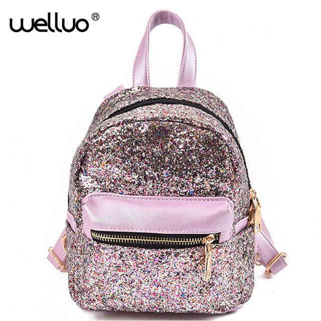 64d8af575984 Women Sequin Backpack Shinning Shinny Glitter Bling Rucksack For Girls  Paillette Leisure School Bag PU Leather