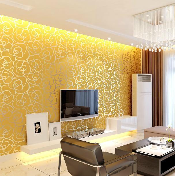 10mroll Modern Damask Flock Velvet Textured Wall Paper