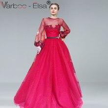 ccd6cb9ef VARBOO ELSA 2018 nueva flor bordado largo vestido de noche rojo tul  transparente Sexy vestido de fiesta vestidos de manga larga .