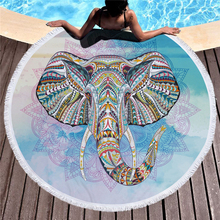 Round Beach Towel Mandala 150cm Absorbent Elephant Beach Towels For Adults Home Towel Bath Microfiber Large Beach Towel Toalla