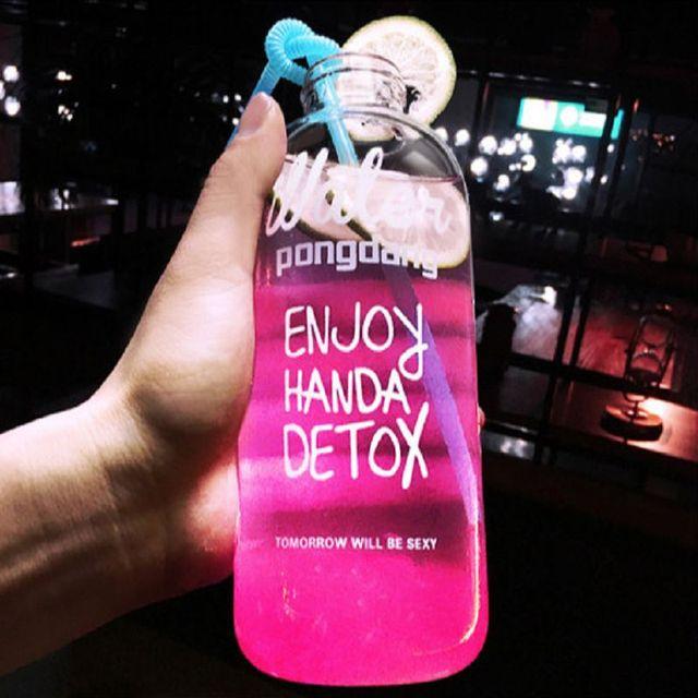 1000ml 600ml my lemon water bottle plastic bottles lovely bootle Transparent botle Portable botella de agua sport drink garrafas
