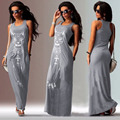 Women Dress Elegant Club Dresses 2017 Casual Long Summer Dresses Plus Size Maxi Sundress Beach Ladies Black long dress Sundress