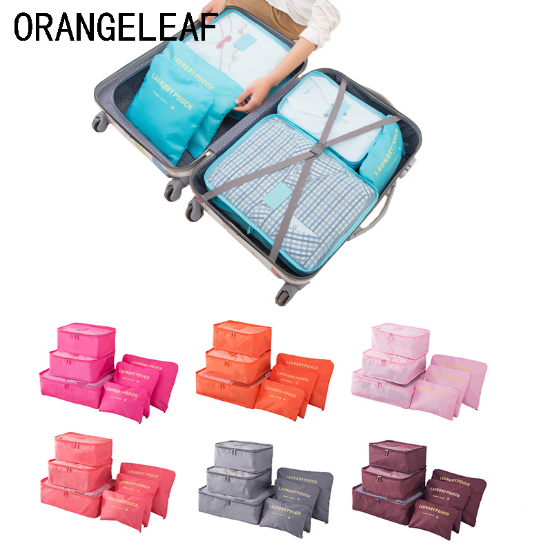 6PCS/Set Travel Organizers Travel Accessories Cloth Travel Mesh Bag Luggage Packing Organizer Packing Cube Organizer Pouch