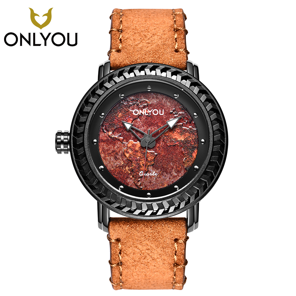 ONLYOU Men Watches Big Dial Top Brand Luxury Sport Creative Male Leather Strap Quartz Watch Casual Military Cool Wristwatch longbo men military watches complex big dial leather strap wristwatch male outdoor sports quartz watch life waterproof uhren men
