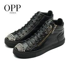 купить OPP Snakeskin Punk Men Shoes Metal Rivet Shoes Men Hop Hip High Top Men Boots Genuine Leather Zipper Shoes Ankle Boots For Men дешево