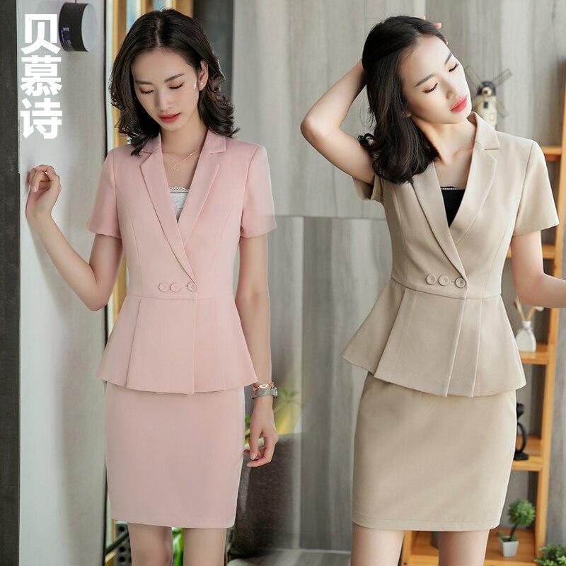 Haute qualité mode rose bureau formel femmes dames uniforme entreprise carrière pour travail OL femmes pantalon costumes dames jupe costumes
