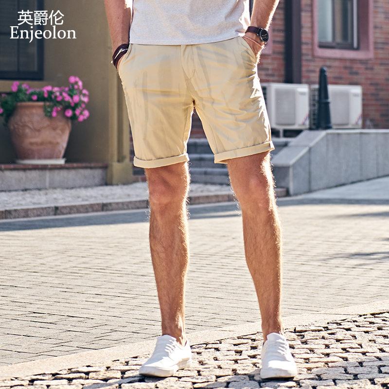 Enjeolon brand top 2018 Summer New Casual Shorts Men Cotton Sim solid white khaki Available Knee length High Quality K6097