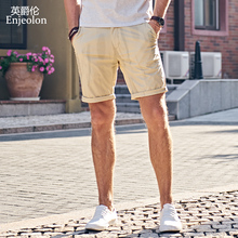 0ae1077bc413 Enjeolon brand top 2018 Summer New Casual Shorts Men Cotton Sim solid white  khaki Available Knee length High Quality K6097