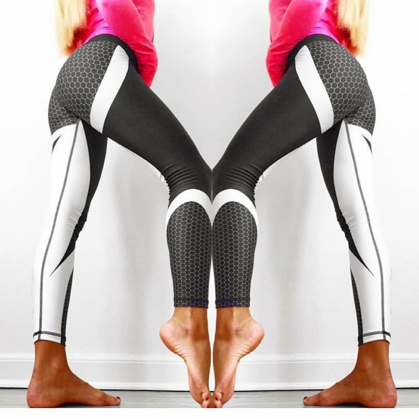 Mesh Pattern Print Leggings Fitness Leggings For Women Sporting Workout Leggins Jogging Elastic Slim Black White Pants 2