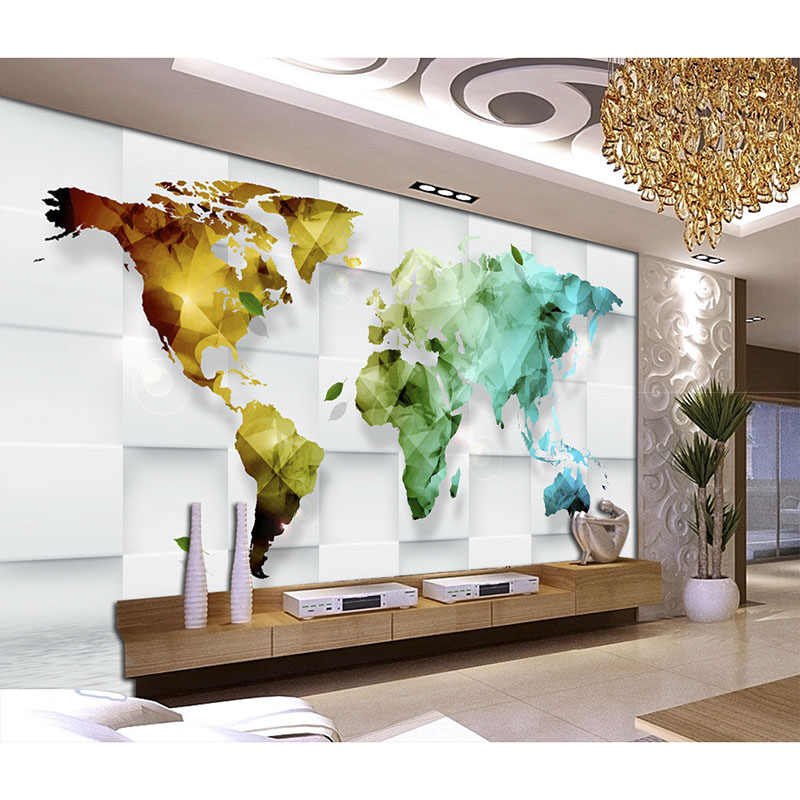 Beautiful Wallpaper Art Decoration For Living Room TV Wall wallpaper 3D Colorful world map Murals Non-woven Wall Paper New#320