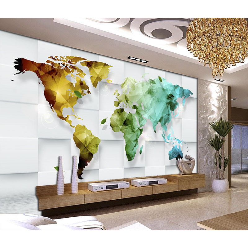 Beautiful wallpaper art decoration for living room tv wall wallpaper 3d colorful world map for Beautiful wall stickers for living room