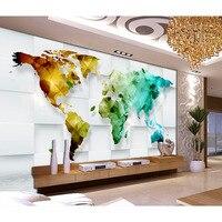 Bella Carta Da Parati Decorazione di Arte Per Soggiorno TV Parete carta da parati 3D mappa del mondo Colorato Murales Non tessuto Carta Da Parati New #320