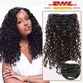 DHL Free Shipping 7A Clip in Human Hair Brazilian European Virgin Hair Clip in Extensions Deep Curly Clip in Hair Extensions