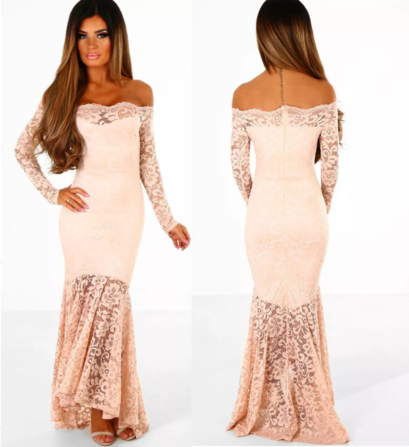 828c81ac2cb0 WLKE Vintage Pink Floral Lace Maxi Dress Long Sleeve Sexy Bodycon Off  Shoulder Long Evening Party