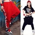 Venda quente Pio Tamanho Grils Punk jazz Hop casual Longo Pé calças Das Mulheres calças harem pants virilha Hip hop calças Largas 1047