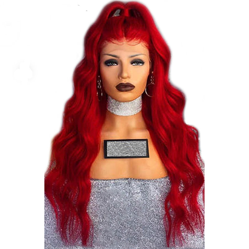 Bombshell Red Natural Wave Hand Tied Synthetic Lace Front Wig Glueless Heat Resistant Fiber Hair Natural