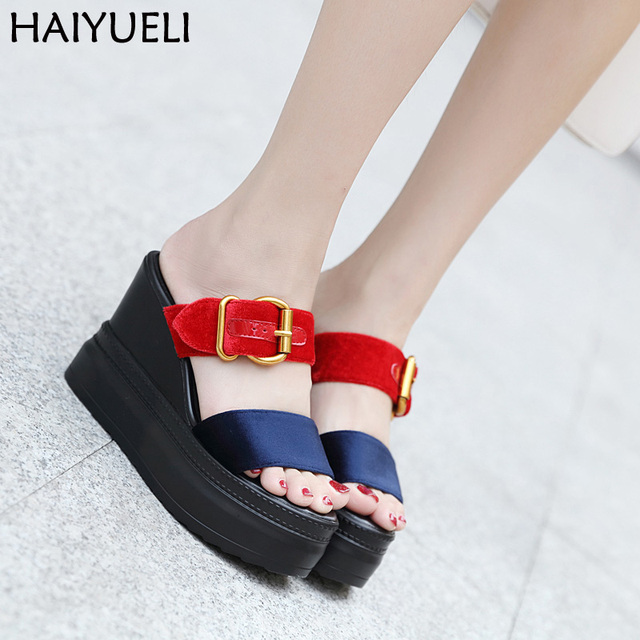 1f597b79bfb US $25.37 22% OFF|Women Shoes Creepers Platform Wedge Sandals Ladies  Gladiator Slippers Summer Red Wedges Slippers 11cm Heel Nightclub Shoes-in  High ...