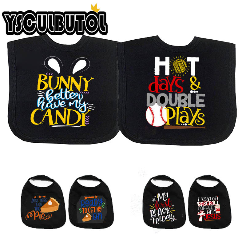 YSCULBUTOL black cute bunny Better have my Candy Unisex Cotton Baby bibs