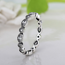 HOMOD Silver Color Leaves Stackable Ring Clear Cubic Zirconia Brand Compatible with Original Jewelry