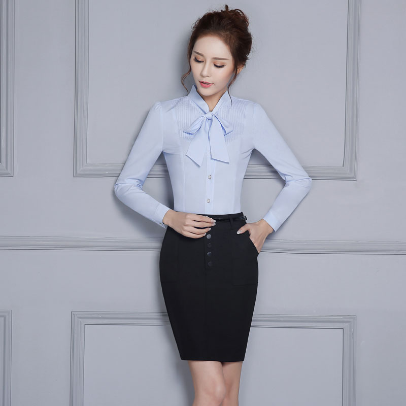 Formal OL Styles Professional Spring Autumn Female Work Suits With 2 Piece Skirt And Blouses Ladies