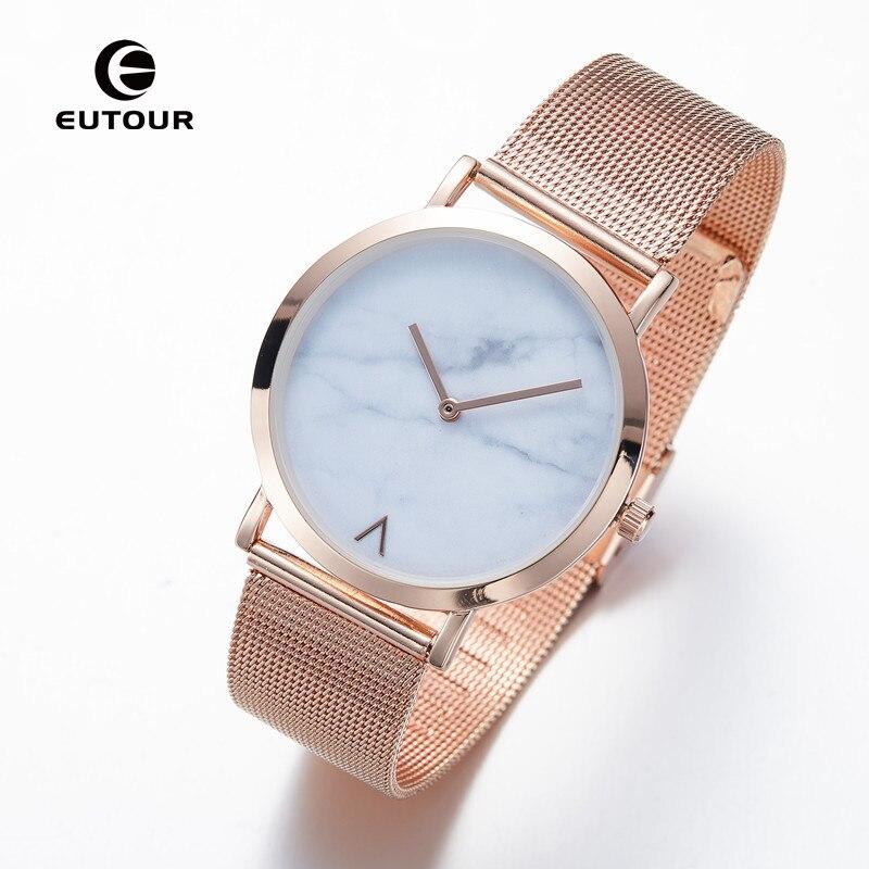 Eutour Rose Gold Ultra Thin Bracelet Women's Fashion Watch  Hot Ladies Minimalist Design Marble Clock Quartz Wristwatches