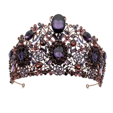 Large Vintage Baroque Purple Crystal Queen Princess Crown With Hair Comb Wedding Bridal Tiara Prom Rhinestone Women Accessories