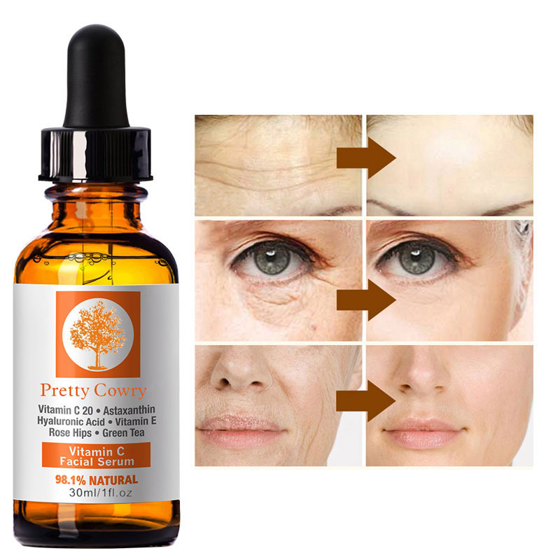 Vitamin C Essence Vitamin E Facial Serum Anti-Aging Face Serum Whitening Skin Care Hyaluronic Acid Remover Freckle Spots Cream