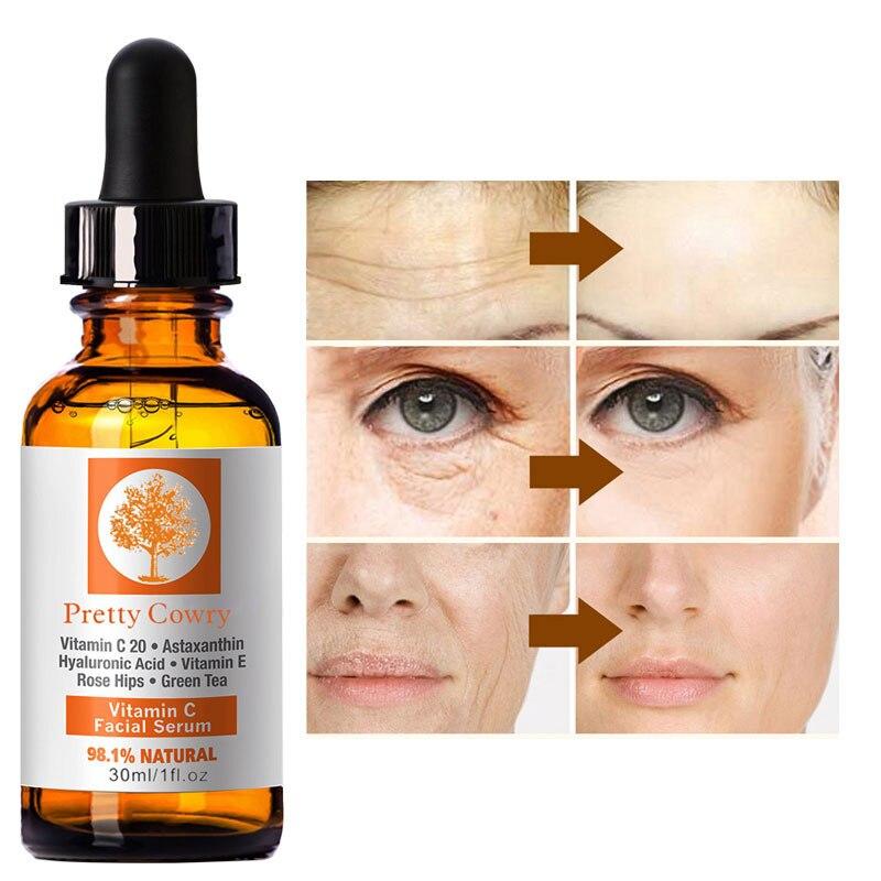 Vitamin C Essenz Vitamin E Gesichts Serum Anti-Aging Gesicht Serum Bleaching Hautpflege Hyaluronsäure Entferner Sommersprossen Flecken creme