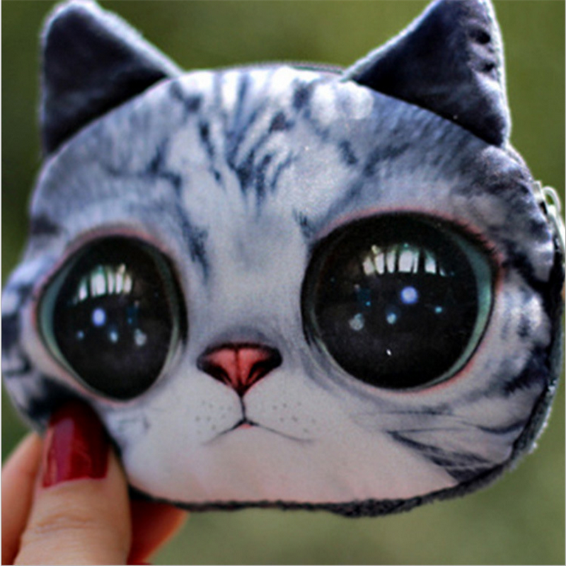 New Coin Purses Women Wallet Cartoon Animal Change Fashion Cute Small Zipper Bag for Children 3D 2017new coin purses wallet ladies 3d printing cats dogs animal big face fashion cute small zipper bag for women mini coin purse