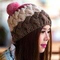 Мех кролика Мяч Шапочки 2016 Осень Зимние Шапки Вязание женской Моды осень Шерсть Gorros Полосатый
