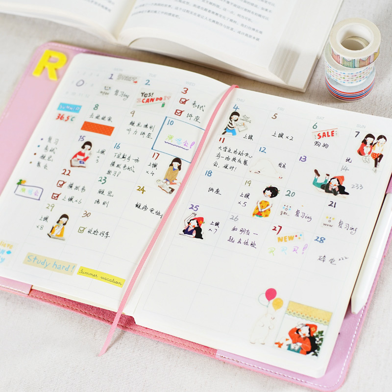 2018 calendar cute japanese macaroon style yearly monthly daily schedule planner organizer leather notebook agenda planner a5 a6 in notebooks from office